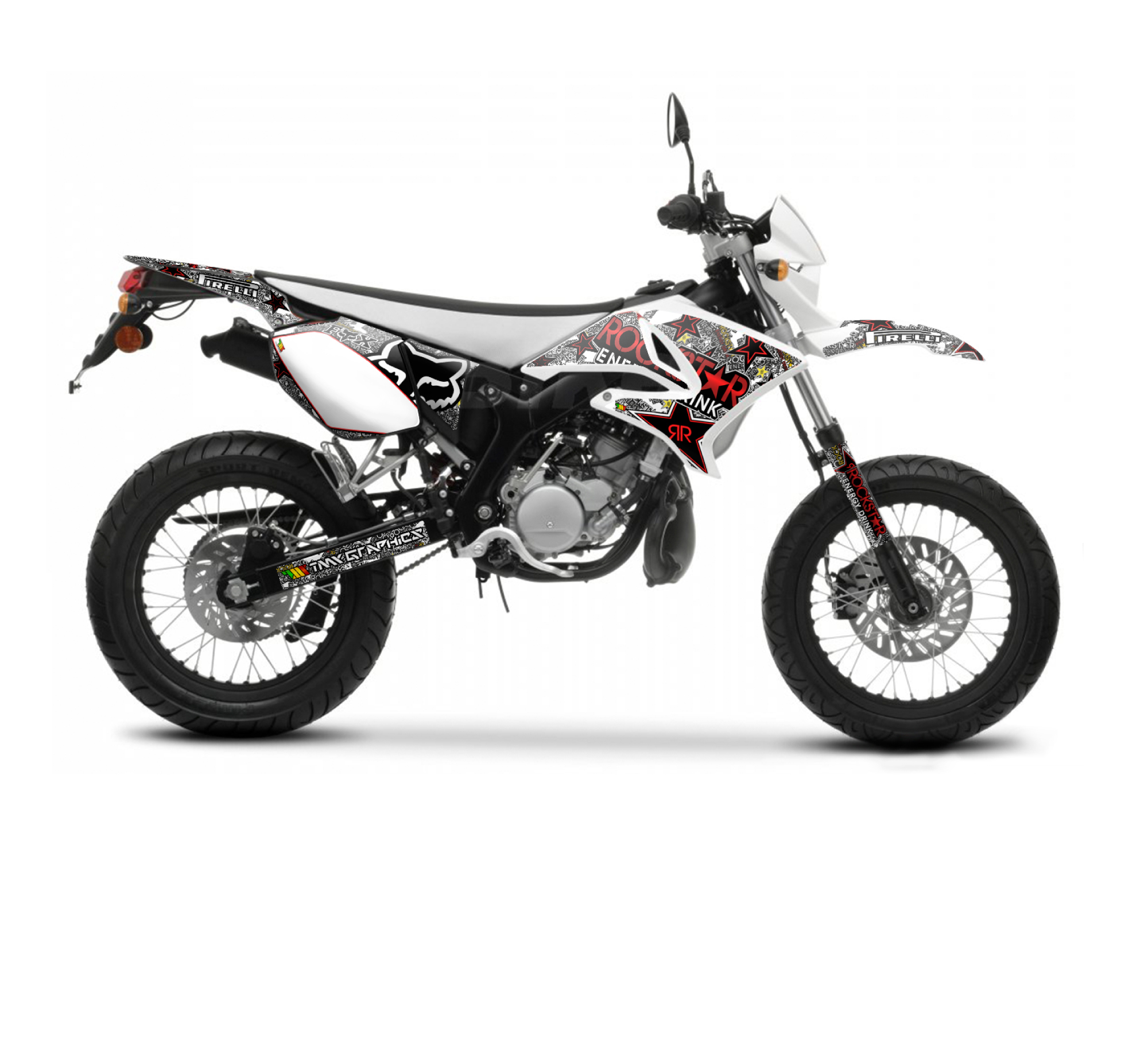 yamaha dt 50 x r rockstar fox graphics series white tmx graphics. Black Bedroom Furniture Sets. Home Design Ideas
